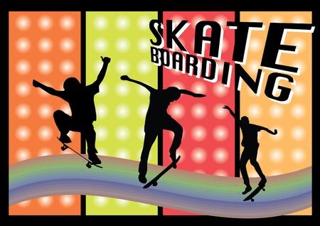 skateboarders on grunge background Stock Vector - 9934629