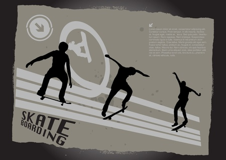 skateboarders on grunge background Stock Vector - 9934637