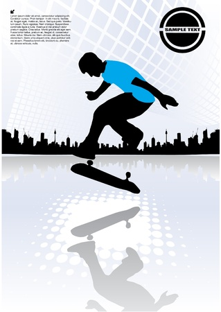 abstract skateboarding Vector