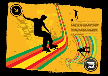 grunge skateboarding background Vector