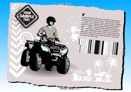 quad sports on grunge background Vector