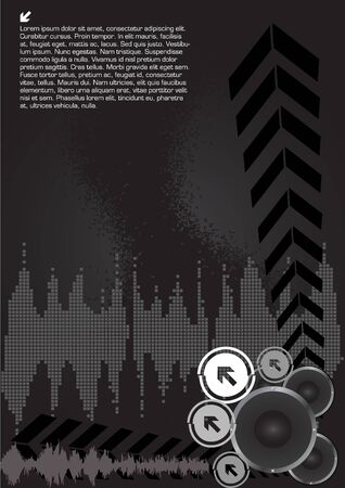 music loudspeaker: abstract musical background  Illustration