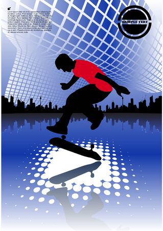 abstract skateboarding Stock Vector - 10009504