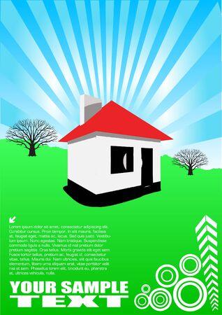 white house on green landscape Stock Vector - 10009496