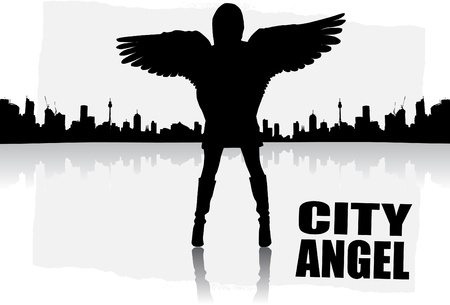 gothic angel: city angel abstract vector  Illustration