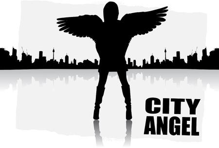 dark hair: vector de ciudad angel abstracto  Vectores