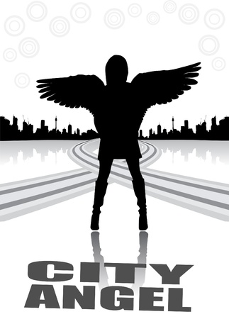 sexy angel: city angel abstract vector  Illustration