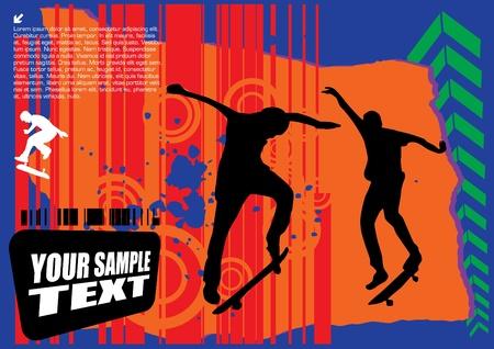 grungy header: grunge skateboarding vector  Illustration