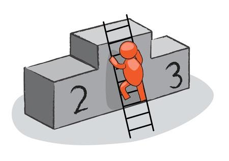 dais: man climbing on a dais Illustration