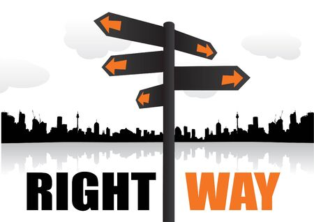 guide board: signpost on city shape