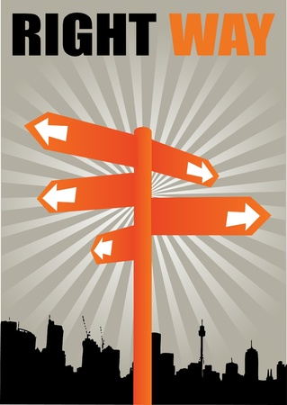 people silhouettes: signpost on city shape