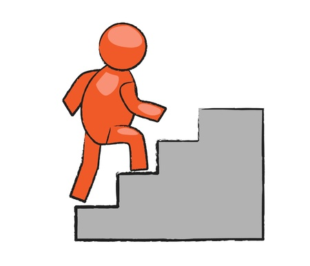 comic man at stairs  Vector