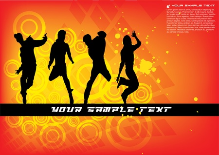 dancing group on abstract background  Stock Vector - 10090233