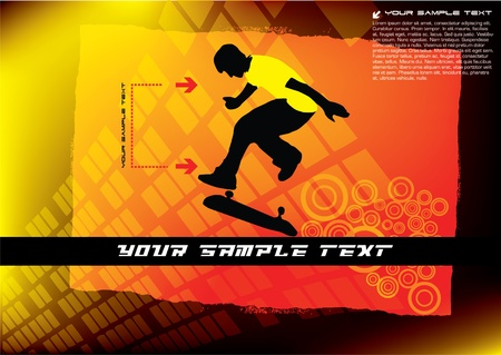 abstract skateboard vector Stock Vector - 10090244