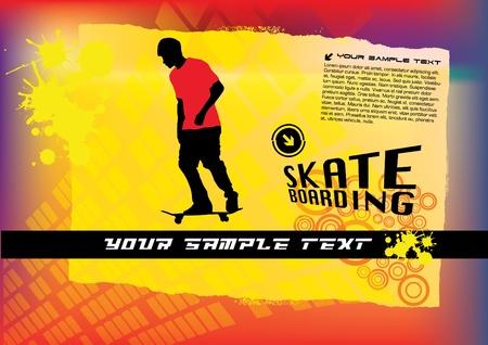 grungy header: abstract skateboard vector