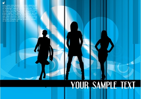 fashion show on abstract background