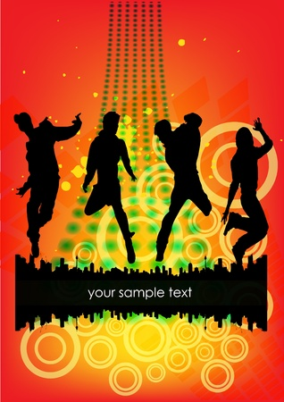 dancing people on abstract grunge background  Vector