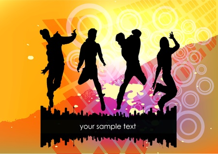 show jumping: dancing people on abstract grunge background