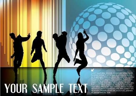 dancers on abstract background  Vector