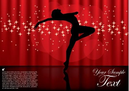 ballet dancer: magic ballet background Illustration