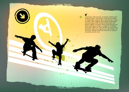 three skateboarders abstract background  Vector