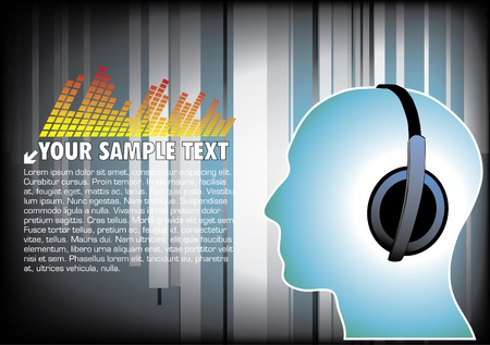 in tune: human head with earphones on digital background