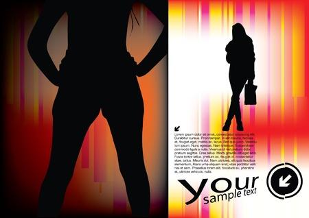 sexes: woman shape on decorative background