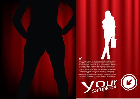 woman shape on decorative background  Vector