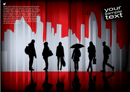 people on abstract background  Vector