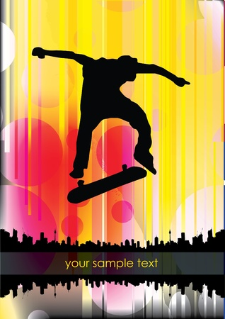 skateboarder on abstract background  Illustration