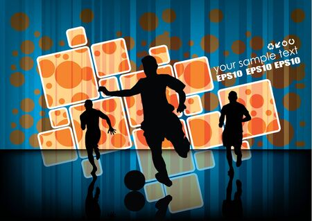 vibrant: soccer players on abstract background  Illustration