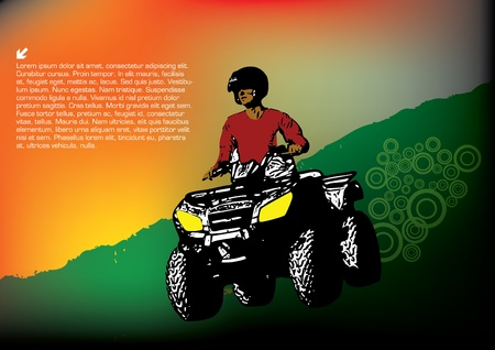 quad: quad sports grunge vector  Illustration