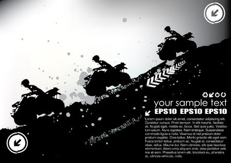 motorized sport: quad sports grunge vector  Illustration