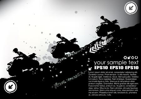 motorizado: vector de cuatro deportes grunge