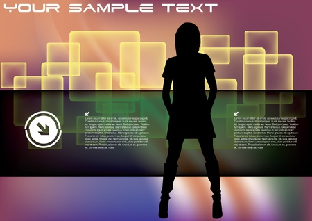 strip club: decorative woman on abstract background  Illustration