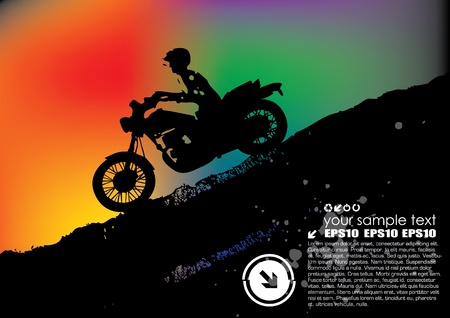 quad: motorcyclist on abstract background