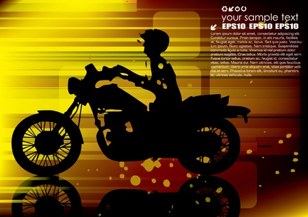 motorcyclist on abstract background  Vector