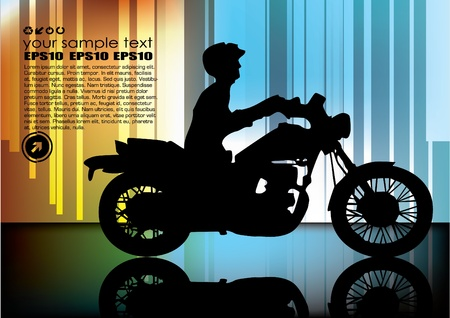 motorcyclist on abstract background  Stock Vector - 10090316