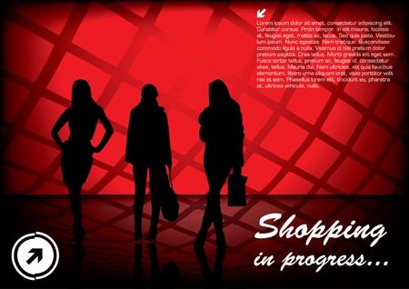 shopping female on digital background  Vector