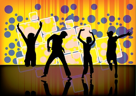 bubble people: dancers on abstract background  Illustration