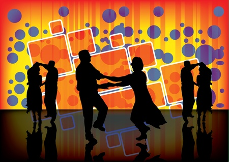 modern dancer: dancing couple on party background