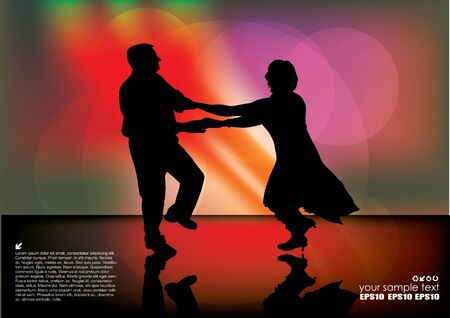 romance love: people dancing on decorative background