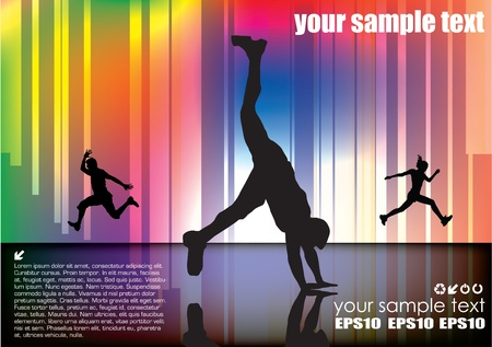 dynamic people on abstract background  Vector