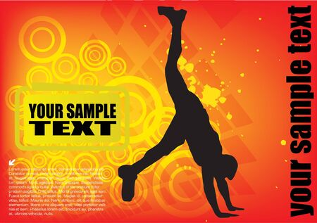 man doing exercise on dynamic colorful background  Vector