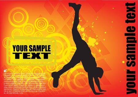 man doing exercise on dynamic colorful background Illustration