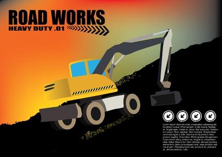 road works vehicle on grunge background  Vector