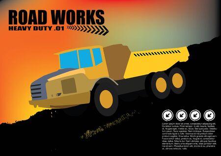 dredge to dig: road works vehicle on grunge background