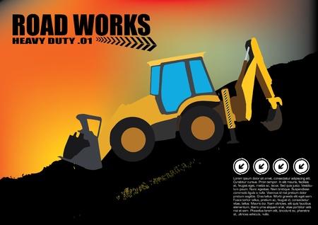 yellow tractor: veh�culo de carretera obras sobre fondo grunge
