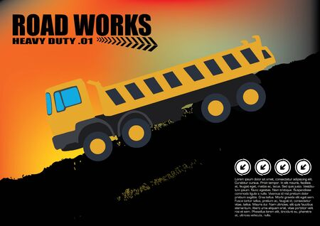 earth moving: road works vehicle on grunge background