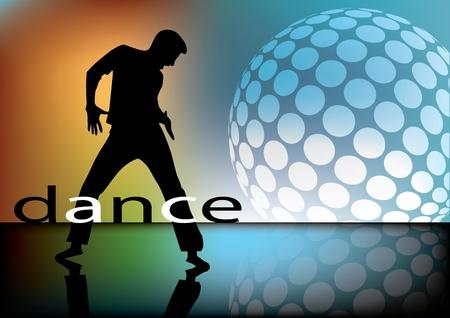 glob: dancing person on retro disco background